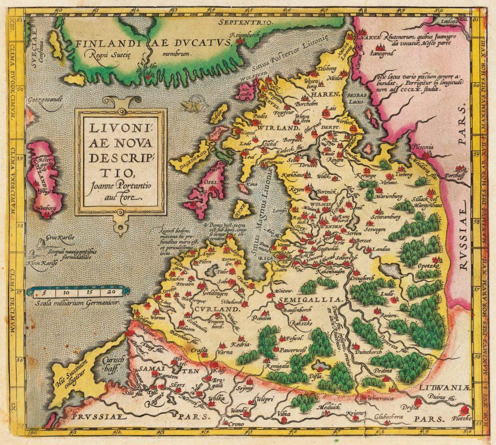 Livonijas karte. J. Portancijs (1573)