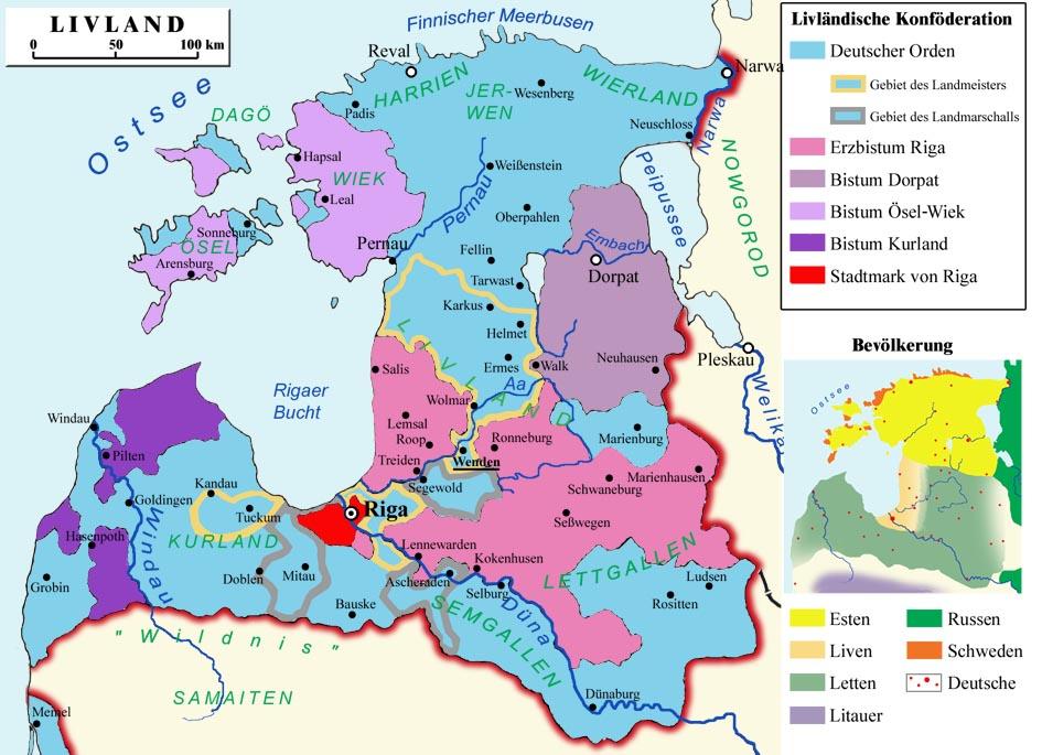 Livonijas politiskais iedalījums viduslaikos
