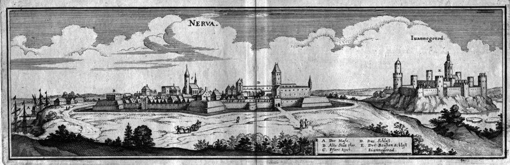 Skats uz Narvu un Ivangorodu: M. Meriāna gravīra