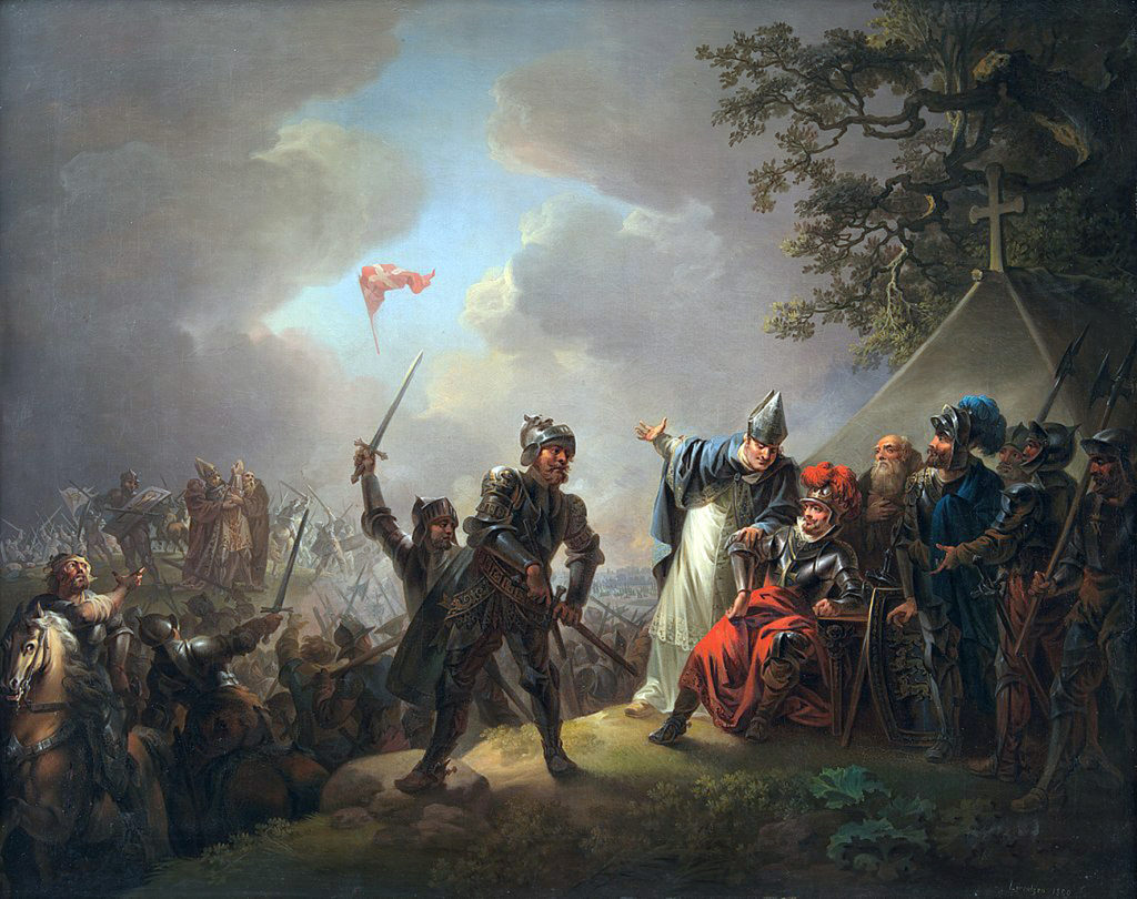 Kaujā pie Lindanises 1219. gadā Dānijas karogs (Danebrog) nokrīt no debesīm. Kr. A. Lorencena glezna (1809)